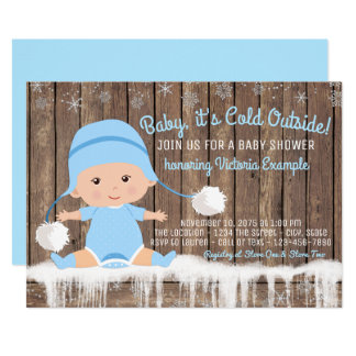 Boys Baby its Cold Outside Baby Shower Card