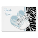 Boys Baby Shoes Blue Zebra Thank You Cards