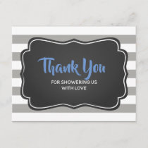 Boys Baby Shower Blue Gray Thank You Note