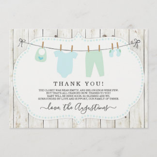 Boys Baby Shower Thank You Card - Rustic