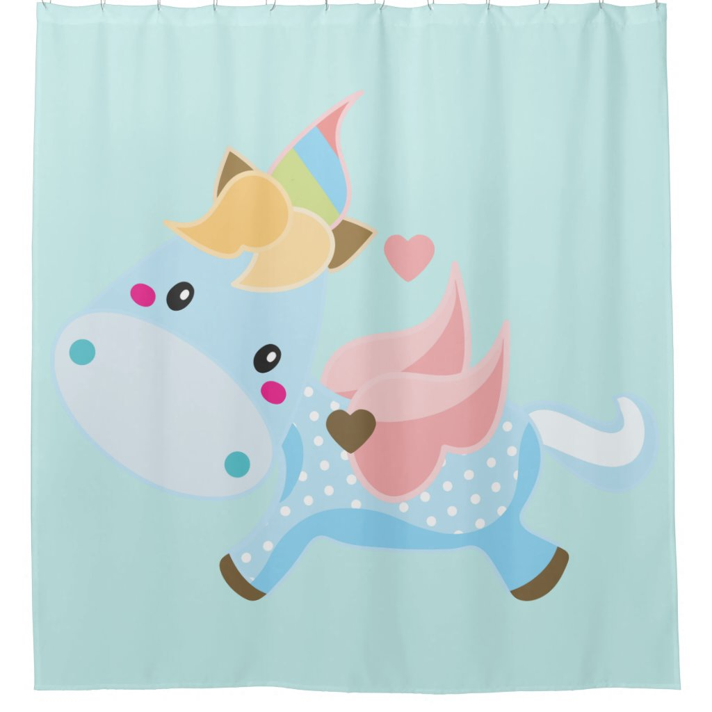Boys Baby Unicorn Blue Background Shower Curtain