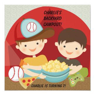 Boys Backyard Campout Birthday Invitations