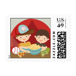 Boys Backyard Campout Postage Stamps
