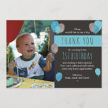 """Boys balloon birthday thank you card<br><div class=""""desc"""">Send your friends and family a wonderful thank you message with these customisable birthday thank you cards. Girl version also available in this style.</div>"""