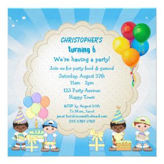 Boys Balloons Cake Birthday Party Invites
