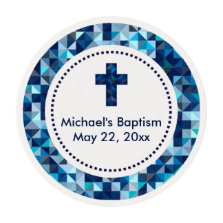 Boy's Baptism Christening First Communion Edible Frosting Rounds