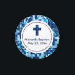"""Boy&#39;s Baptism Christening First Communion Jelly Belly Tin<br><div class=""""desc"""">A modern geometric pattern borders these petite candy tins.</div>"""
