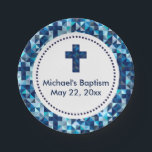 "Boy&#39;s Baptism Christening First Communion Paper Plate<br><div class=""desc"">A modern geometric pattern borders these paper plates. You have the option to remove the circle and personalization and leave just the design. Click on Customize It and delete the images you want to remove.</div>"