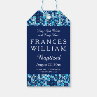 Boy's Baptism Christening Geometric Cross Gift Tags