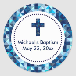 Boy's Baptism First Communion Confirmation Favors Classic Round Sticker