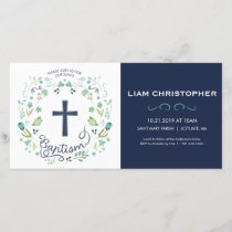 Boy's Baptism Invitation Card - Invite w/ Cross