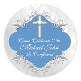 Boys BAPTISM Invitations Round Vintage Design