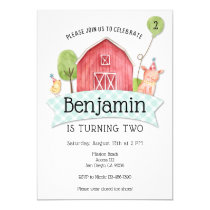 Boys Barnyard 1st birthday invitation