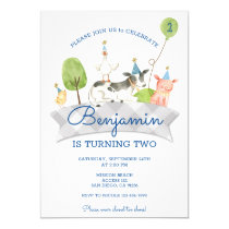 Boys Barnyard First Birthday Invite
