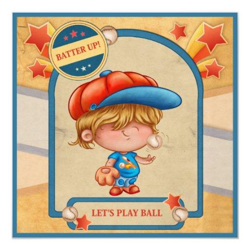 "Boys Baseball Birthday 5.25"" Square Invitation Card"