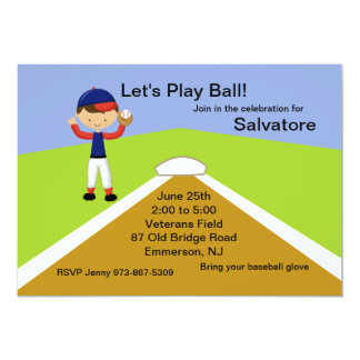 Boys Baseball Birthday Invitation