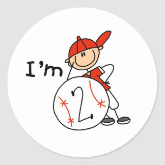 Boy's Baseball I'm 2 Classic Round Sticker