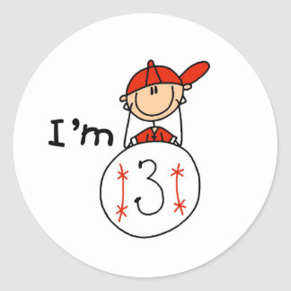 Boy's Baseball I'm 3 Classic Round Sticker
