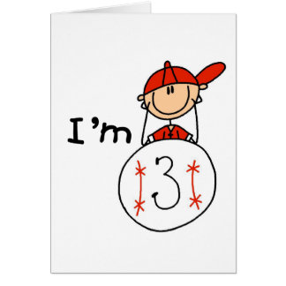 Boy's Baseball I'm 3 Tshirts and Gifts Card