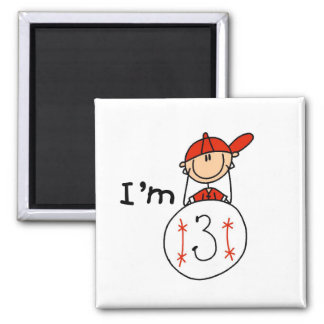 Boy's Baseball I'm 3 Tshirts and Gifts 2 Inch Square Magnet