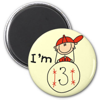 Boy's Baseball I'm 3 Tshirts and Gifts 2 Inch Round Magnet