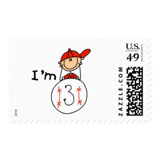 Boy's Baseball I'm 3 Tshirts and Gifts Stamps