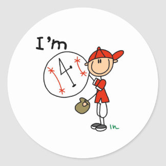 Boy's Baseball I'm 4 Classic Round Sticker