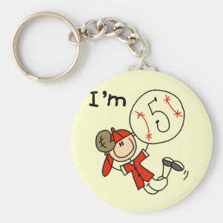 Boy's Baseball I'm 5 Tshirts and Gifts Basic Round Button Keychain