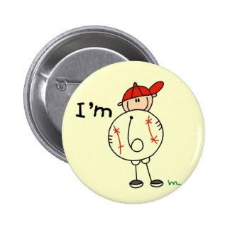 Boy's Baseball I'm 6 Tshirts and Gifts Pin
