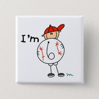 Boy's Baseball I'm 6 Tshirts and Gifts Pinback Button