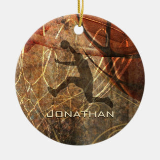 boys basketball grunge sports ceramic ornament