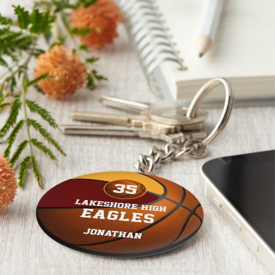 boys' basketball maroon gold team sports keychain
