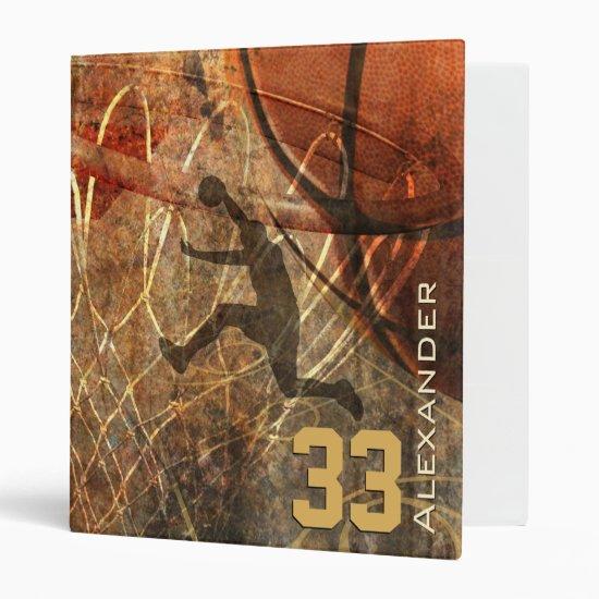 boys' basketball slam dunk personalized binder