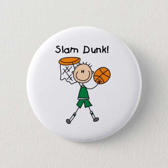 Boys Basketball Slam Dunk Pinback Button