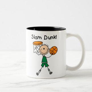Boys Basketball Slam Dunk Two-Tone Coffee Mug