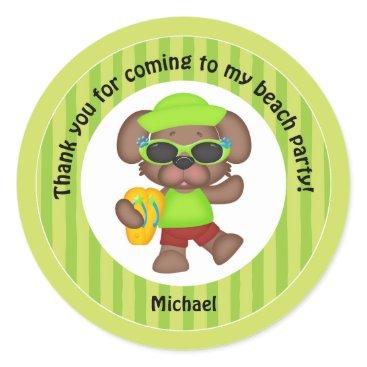 Beach Themed Boys Beach Party Thank You Classic Round Sticker