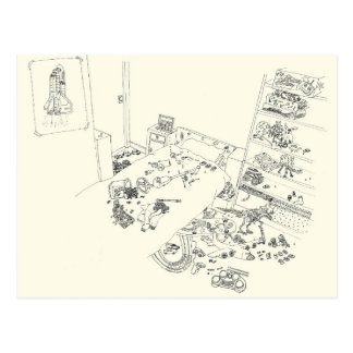 Boys Bedroom Mess Family Humour Drawing from Above Postcard