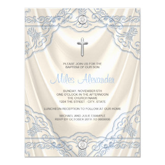 Boys Beige Ivory and Blue Baptism Christening Card