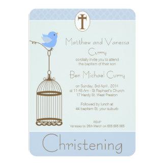 Boys Birdcage Baptism Christening Invitation