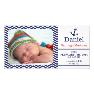 Boys Birth Announcement Photo-card Nautical