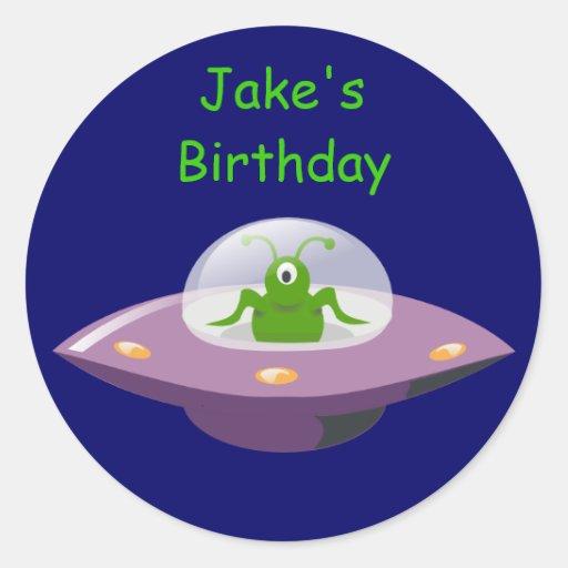 Boys Birthday Alien Stickers