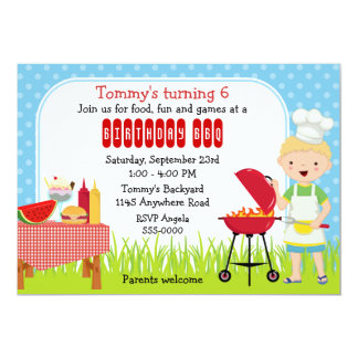 Boys Birthday BBQ Cookout Card