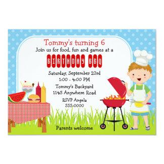 """Boys Birthday BBQ 5"""" X 7"""" Invitation Card"""