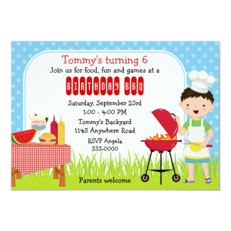 Boys Birthday Cookout Card