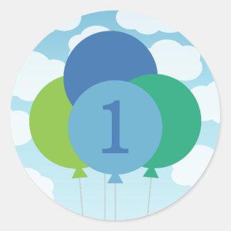 Boy's Birthday Favor Stickers | Balloons Design