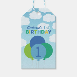 Boy's Birthday Favor Tags | Balloons Design Pack Of Gift Tags