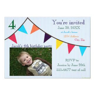 Boys Birthday Invitation Blue Striped Banner