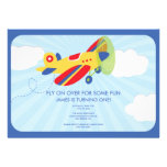 Boy's Birthday Invitation Cute Airplane