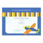 Boy's Birthday Invitation Cute Blue Airplane