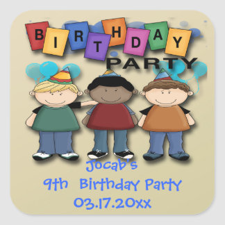 Boy's Birthday Party Favor stickers